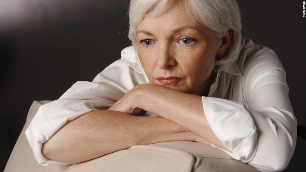 retired and depressed pensive older woman